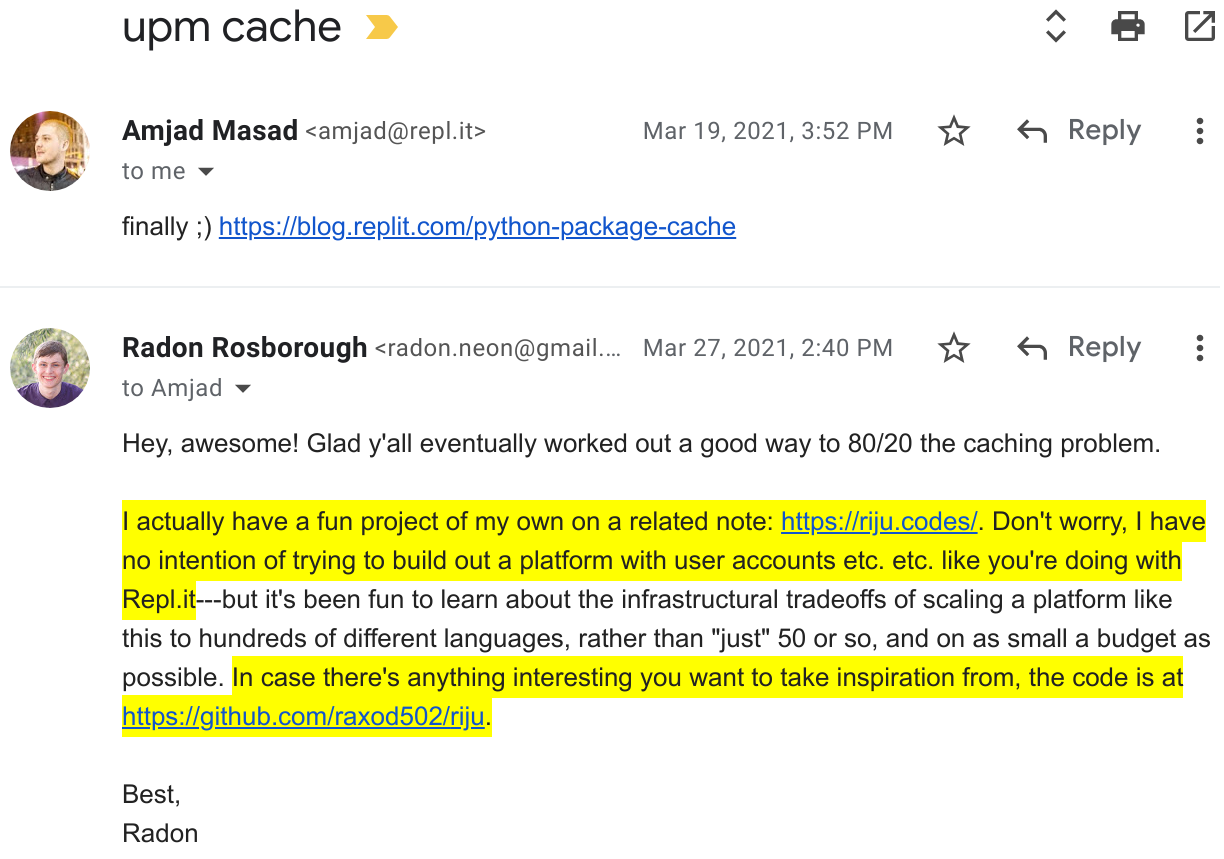 Screenshot of an email from Replit sharing a post from their blog, and my response sharing my open-source project with them