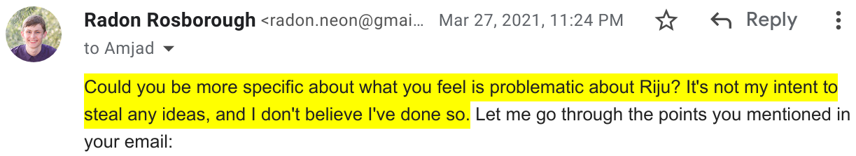 Screenshot excerpt of my email asking Replit for details about what ideas they were claiming I stole