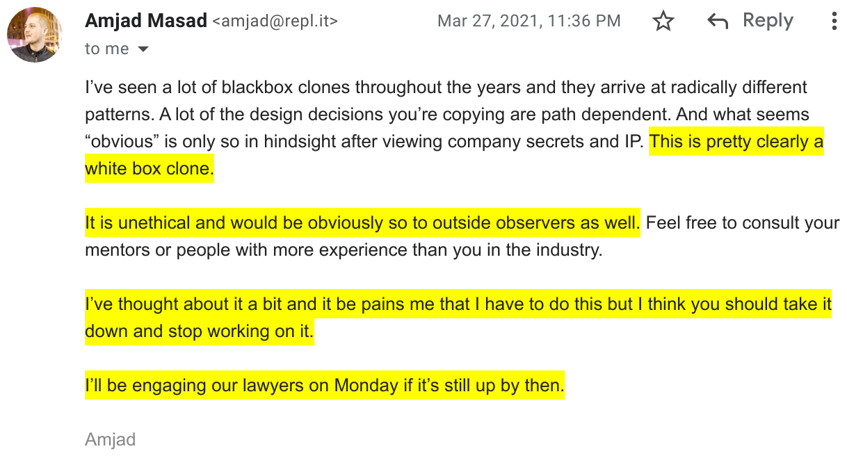 Screenshot of an email from Replit threatening me with a lawsuit