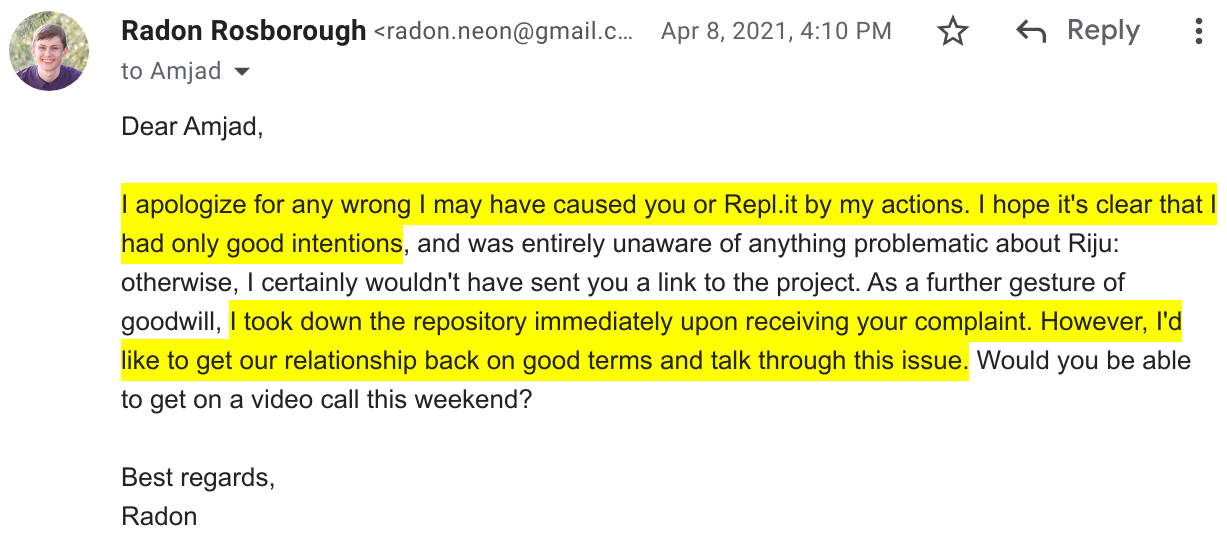 Screenshot of an email in which I apologize to Replit and ask to have a call