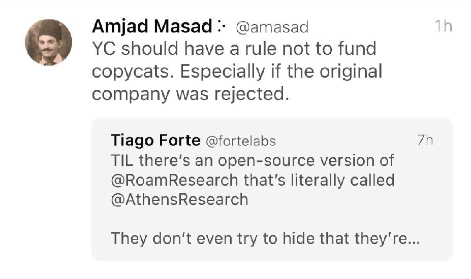 Screenshot of Amjad's deleted tweet calling for 'copycats' to be banned from venture capital