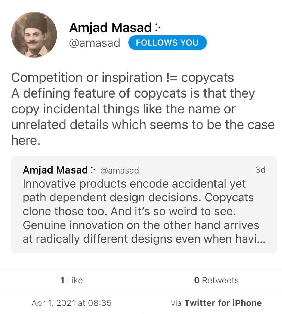 Screenshot of Amjad's deleted tweet denigrating 'copycats'